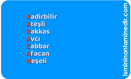 Karacan isminin anlamı