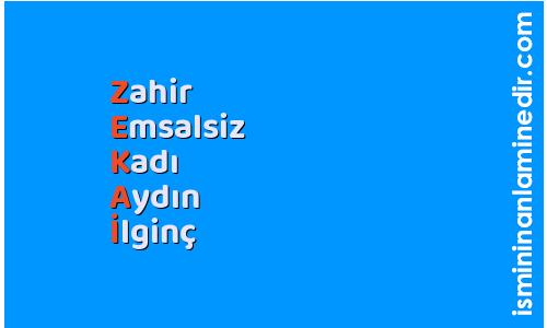 Zekai isminin anlamı